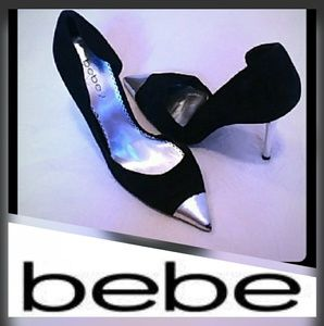Silver Detail Pointed Stiletto Heels- Bebe